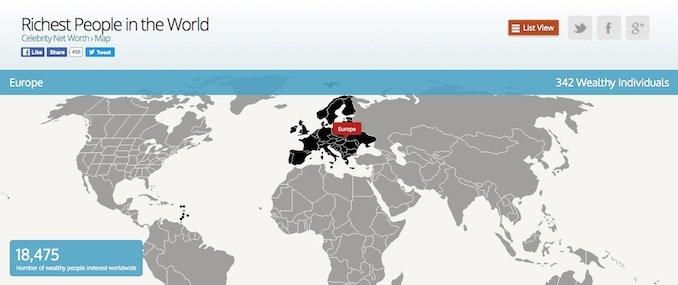 Un mapa con las personas más ricas de cada región del planeta