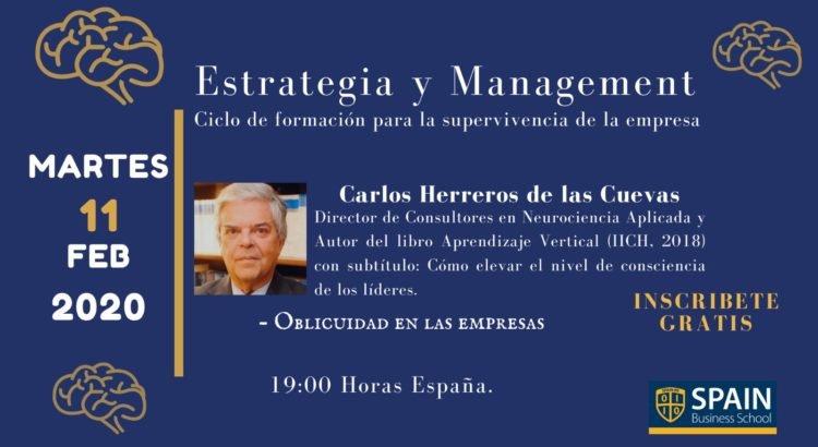 Spain Business School te invita a un webinar, sobre Oblicuidad, de Carlos Herreros